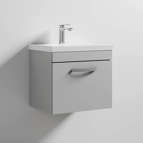 Additional image for Wall Vanity Unit With 1 x Drawer & Basin 500mm (Grey Mist).