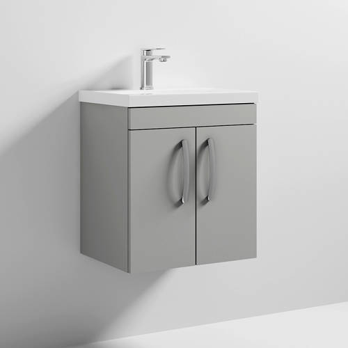 Additional image for Wall Vanity Unit With 2 x Doors & Basin 500mm (Gloss Grey Mist).