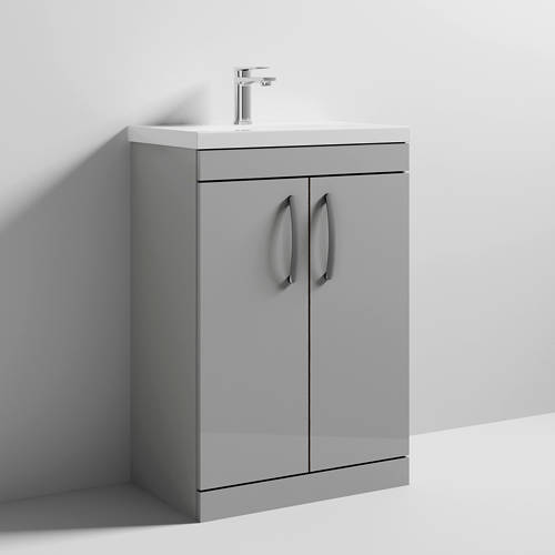 Additional image for Vanity Unit With 2 x Doors & Basin 600mm (Gloss Grey Mist).