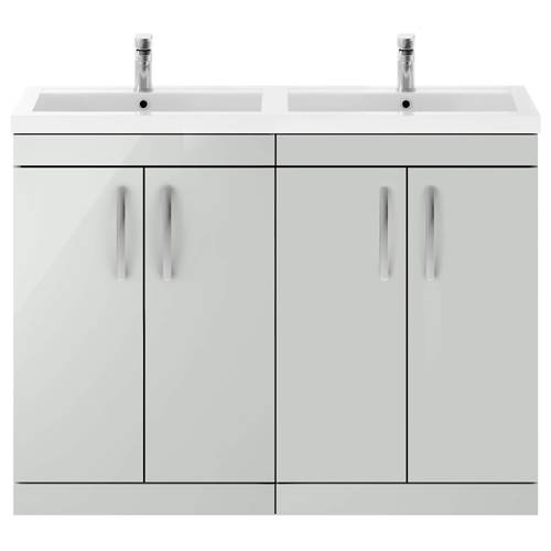 Additional image for Vanity Unit With 4 x Doors & Double Basin (Gloss Grey Mist).