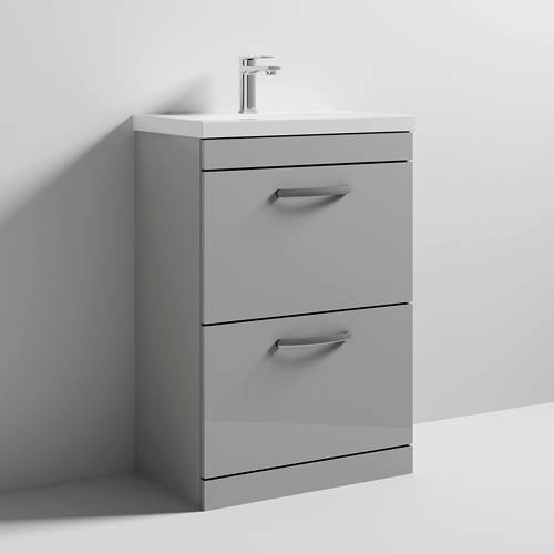 Additional image for Vanity Unit With 2 x Drawers & Basin 600mm (Gloss Grey Mist).