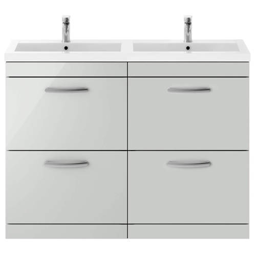 Additional image for Vanity Unit With 4 x Drawers & Double Basin (Gloss Grey Mist).