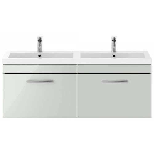 Additional image for Wall Vanity Unit With 2 x Drawers & Double Basin (Grey Mist).
