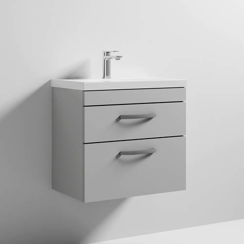 Additional image for Wall Vanity Unit With 2 x Drawer & Basin 600mm (Grey Mist).