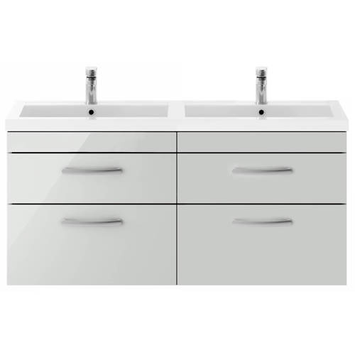 Additional image for Wall Vanity Unit With 4 x Drawers & Double Basin (Grey Mist).