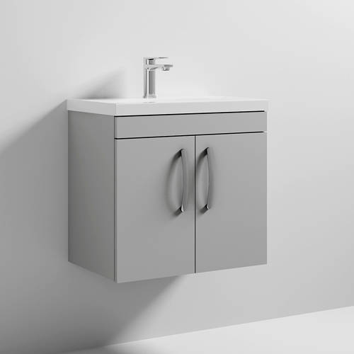Additional image for Wall Vanity Unit With 2 x Doors & Basin 600mm (Gloss Grey Mist).