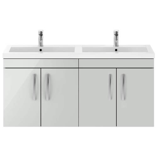 Additional image for Wall Vanity Unit With 4 x Doors & Double Basin (Grey Mist).