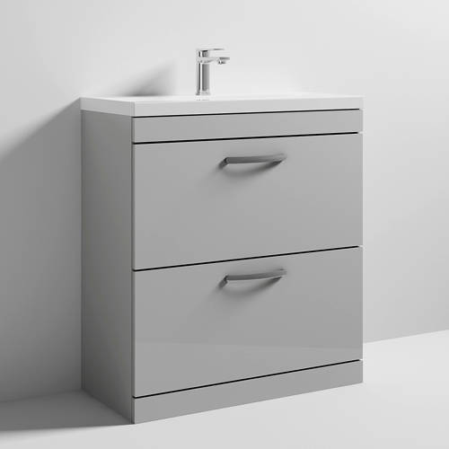 Additional image for Vanity Unit With 2 x Drawers & Basin 800mm (Gloss Grey Mist).