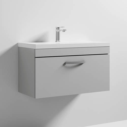 Additional image for Wall Vanity Unit With 1 x Drawer & Basin 800mm (Grey Mist).