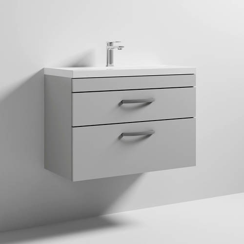 Additional image for Wall Vanity Unit With 2 x Drawer & Basin 800mm (Grey Mist).