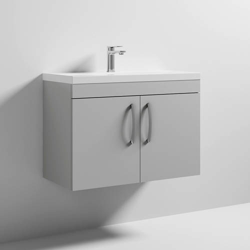 Additional image for Wall Vanity Unit With 2 x Doors & Basin 800mm (Gloss Grey Mist).