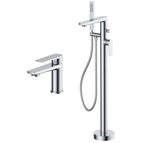 Additional image for Basin & Floor Standing Bath Shower Mixer Tap Pack (Chrome).