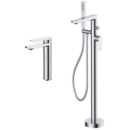 Additional image for Tall Basin & Floor Standing Bath Shower Mixer Tap Pack (Chrome).