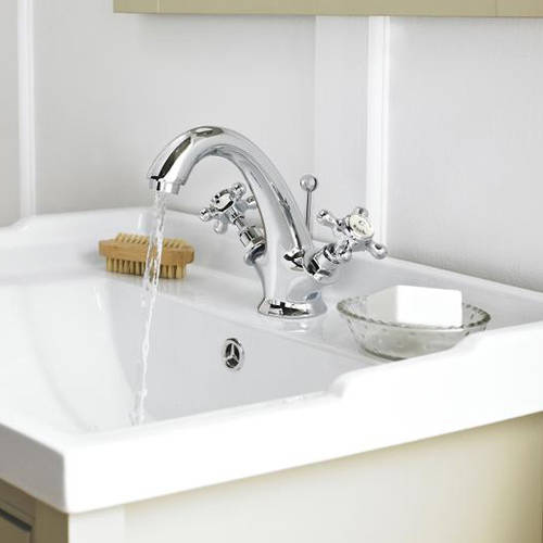Additional image for Basin Mixer Tap With Crosshead Handles (White & Chrome).