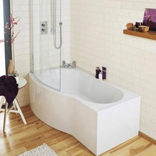 Additional image for B-Shape 1700mm Shower Bath Only (Left Handed).