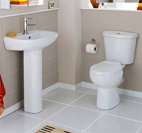 Additional image for Bathroom Suite With Toilet, Basin & Ped (1 Tap Hole).