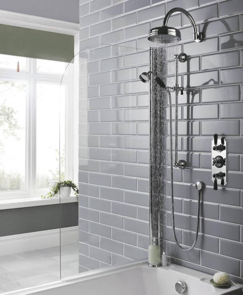 Additional image for Thermostatic Shower Valve With Black Handles (2 Way).