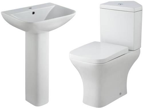 Additional image for Corner Toilet With Basin & Full Pedestal.