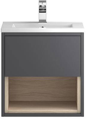 Additional image for 500mm Wall Hung Vanity With 600mm WC Unit & Basin 1 (Grey).