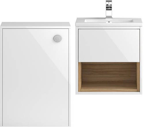 Additional image for 500mm Wall Hung Vanity With 600mm WC Unit & Basin 1 (White).