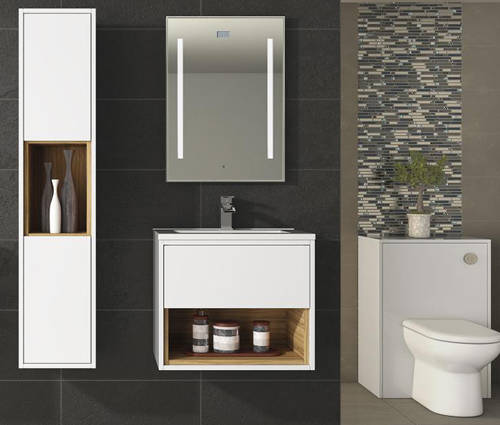 Additional image for 500mm Wall Hung Vanity With 600mm WC Unit & Basin 2 (White).