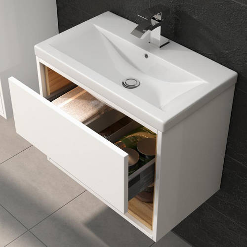 Additional image for 800mm Wall Hung Vanity With 600mm WC Unit & Basin 1 (White).