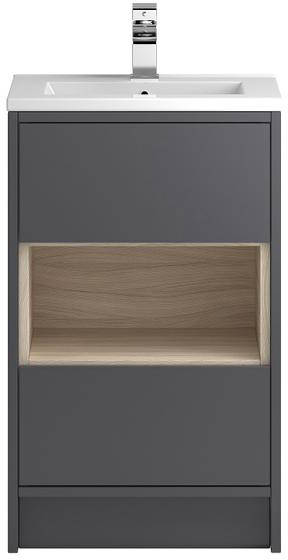 Additional image for 500mm Vanity Unit With 600mm WC Unit & Basin 1 (Grey).