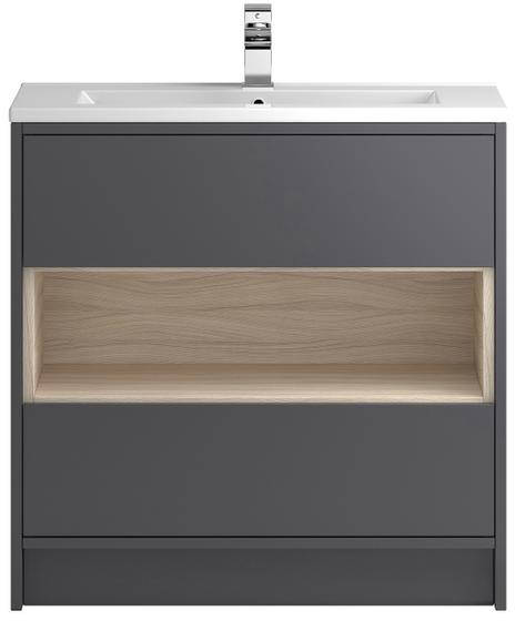 Additional image for 800mm Vanity Unit With 600mm WC Unit & Basin 2 (Grey).