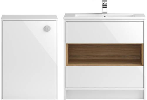 Additional image for 800mm Vanity Unit With 600mm WC Unit & Basin 1 (White).