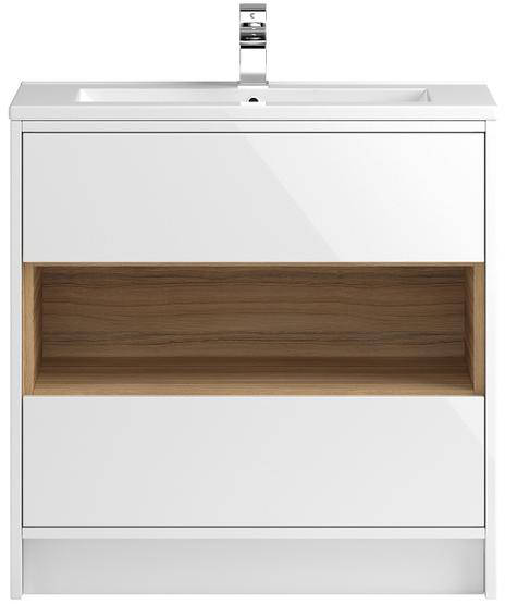Additional image for 800mm Vanity Unit With 600mm WC Unit & Basin 2 (White).