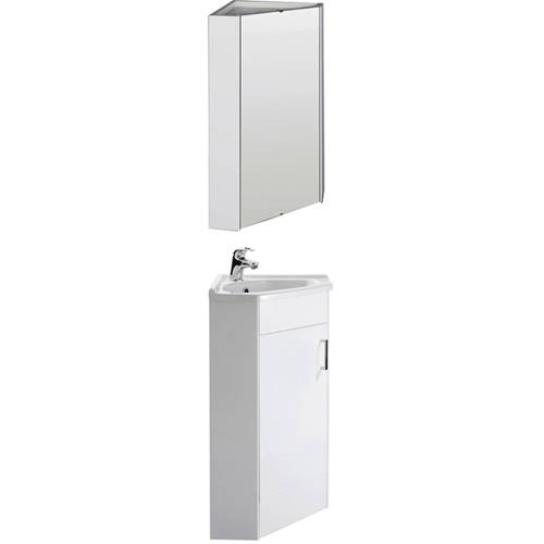 Additional image for Corner Vanity Unit With Ceramic Basin & Mirror Cabinet (White).