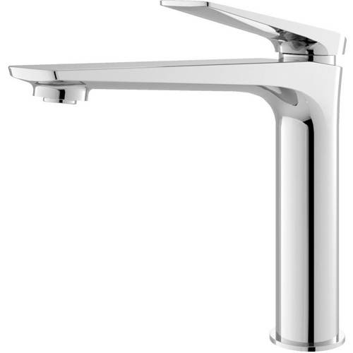 Additional image for Tall Basin Mixer Tap With Push Button Waste (Chrome).
