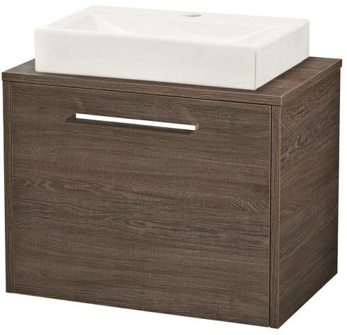 600mm wall hung vanity unit basin mid sawn oak hudson reed horizon u fhz010. Black Bedroom Furniture Sets. Home Design Ideas