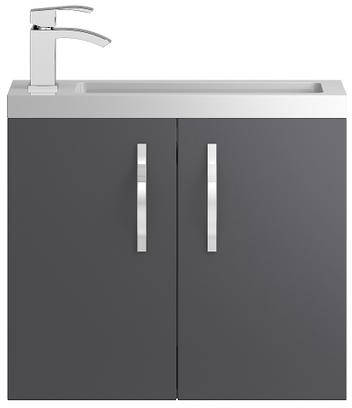 Additional image for Wall Hung Vanity Unit & Basin (600mm, Grey).