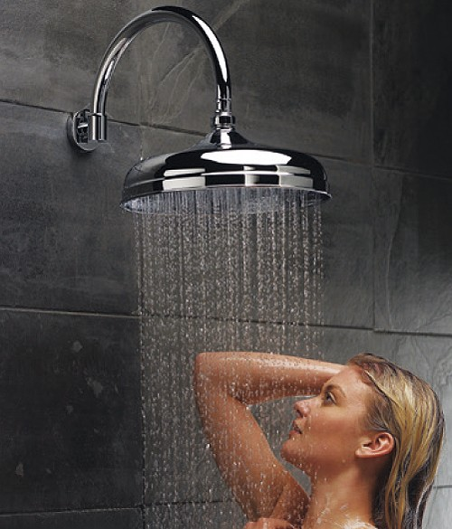 """Additional image for Traditional 12"""" Apron Shower Head With Curved Arm (Chrome)."""
