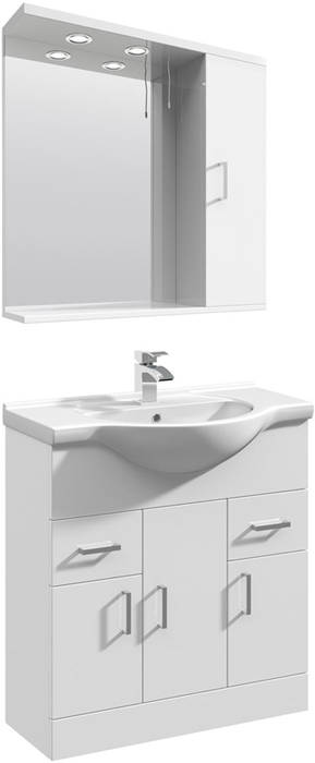 Additional image for Vanity Unit Pack With Type 1 Basin & Mirror (750mm, White).