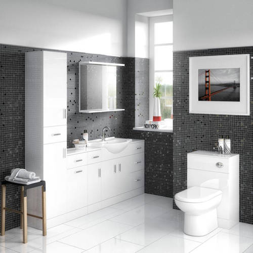 Additional image for 450mm Vanity Unit With Basin Type 2 & 500mm WC Unit (White).