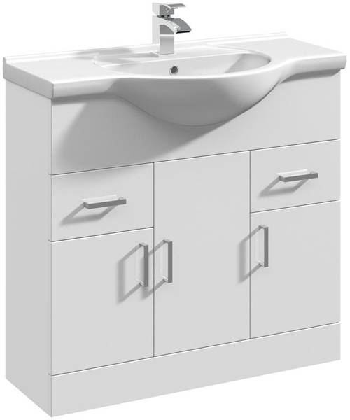 Additional image for 850mm Vanity Unit With Basin Type 1 & 500mm WC Unit (White).