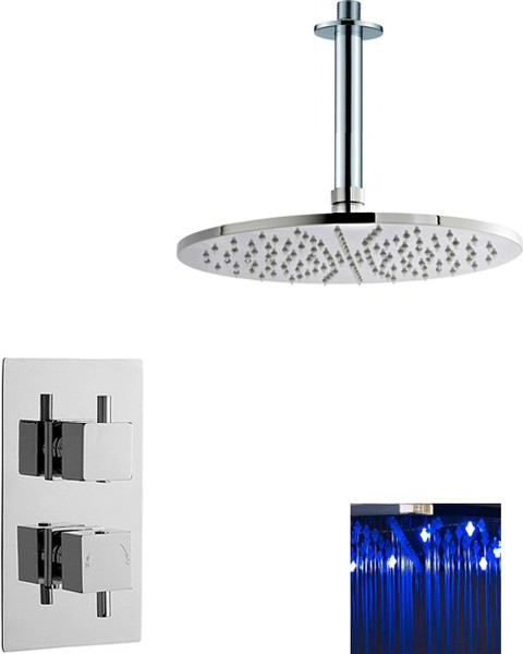Additional image for Twin Thermostatic Shower Valve With Large LED Round Head.