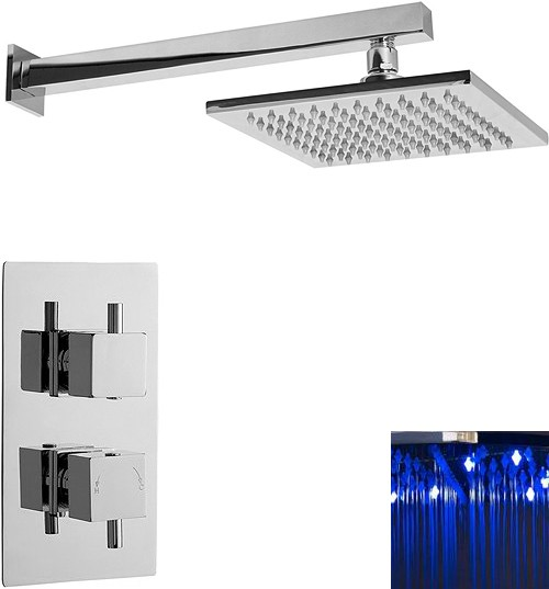 Additional image for Twin Thermostatic Shower Valve With LED Square Head.