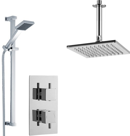Additional image for Twin Thermostatic Shower Valve With Head & Slide Rail Kit.