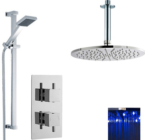 Additional image for Twin Thermostatic Shower Valve With LED Head & Slide Rail.