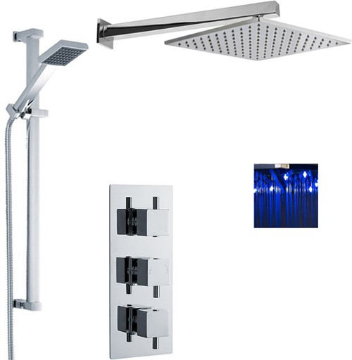 Additional image for Triple Thermostatic Shower Valve, LED Head & Slide Rail Kit.