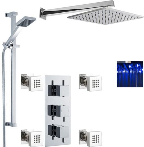 Additional image for Triple Shower Valve, LED Head & Slide Rail Kit & Body Jets.