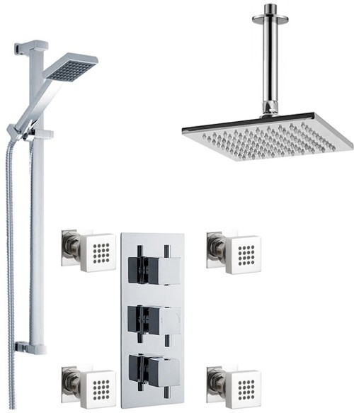 Additional image for Triple Shower Valve With Head & Slide Rail Kit & Body Jets.