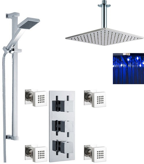 Additional image for Triple Shower Valve, LED Head & Slide Rail Kit & Body Jets.