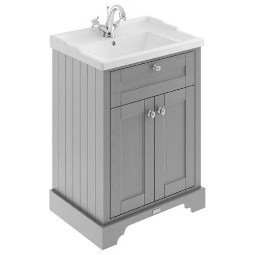 Additional image for Vanity Unit With Basins 600mm (Storm Grey, 1TH).