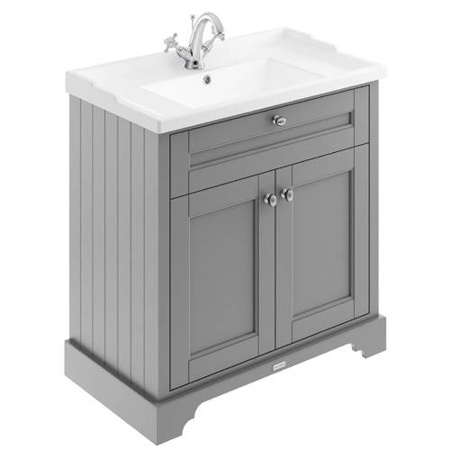 Additional image for Vanity Unit With Basins 800mm (Grey, 1TH).
