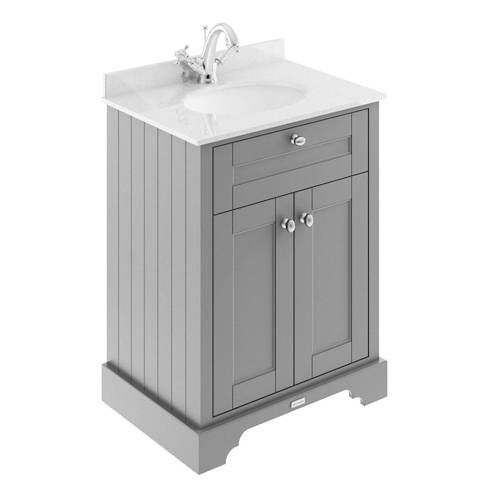 Additional image for Vanity Unit, Basin & White Marble 600mm (Grey, 1TH).