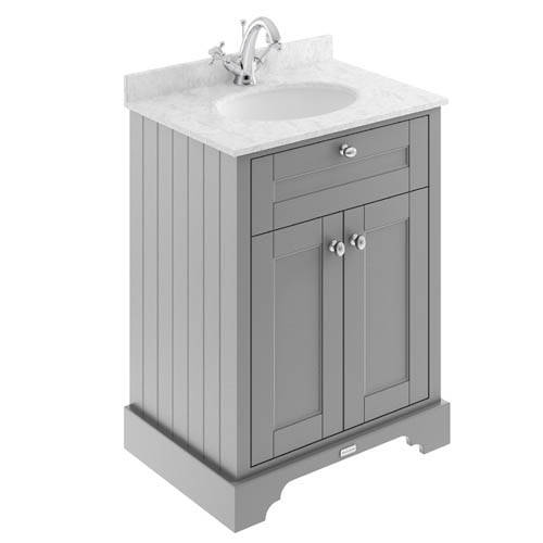 Additional image for Vanity Unit, Basin & Grey Marble 600mm (Grey, 1TH).